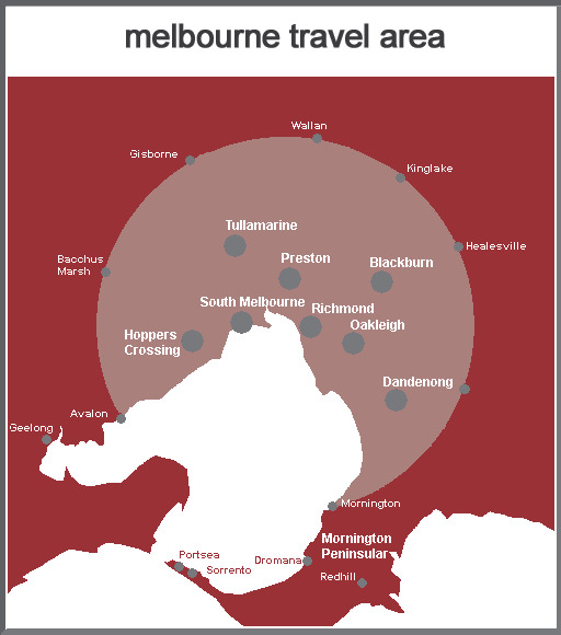 Melbourne area of use map
